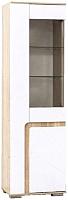 Шкаф-пенал с витриной SV-мебель Гостиная Нота 25 Ж (дуб сонома/белый глянец) -