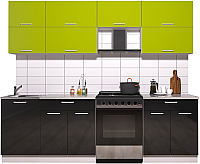 Готовая кухня Интерлиния Мила Gloss 60-25 (яблоко/черный глянец) -