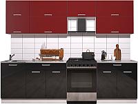 Готовая кухня Интерлиния Мила Gloss 60-27 (бордовый/черный глянец) -