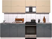 Готовая кухня Интерлиния Мила Gloss 60-27 (ваниль/асфальт глянец) -