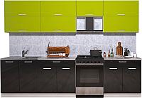 Готовая кухня Интерлиния Мила Gloss 60-30 (яблоко/черный глянец) -