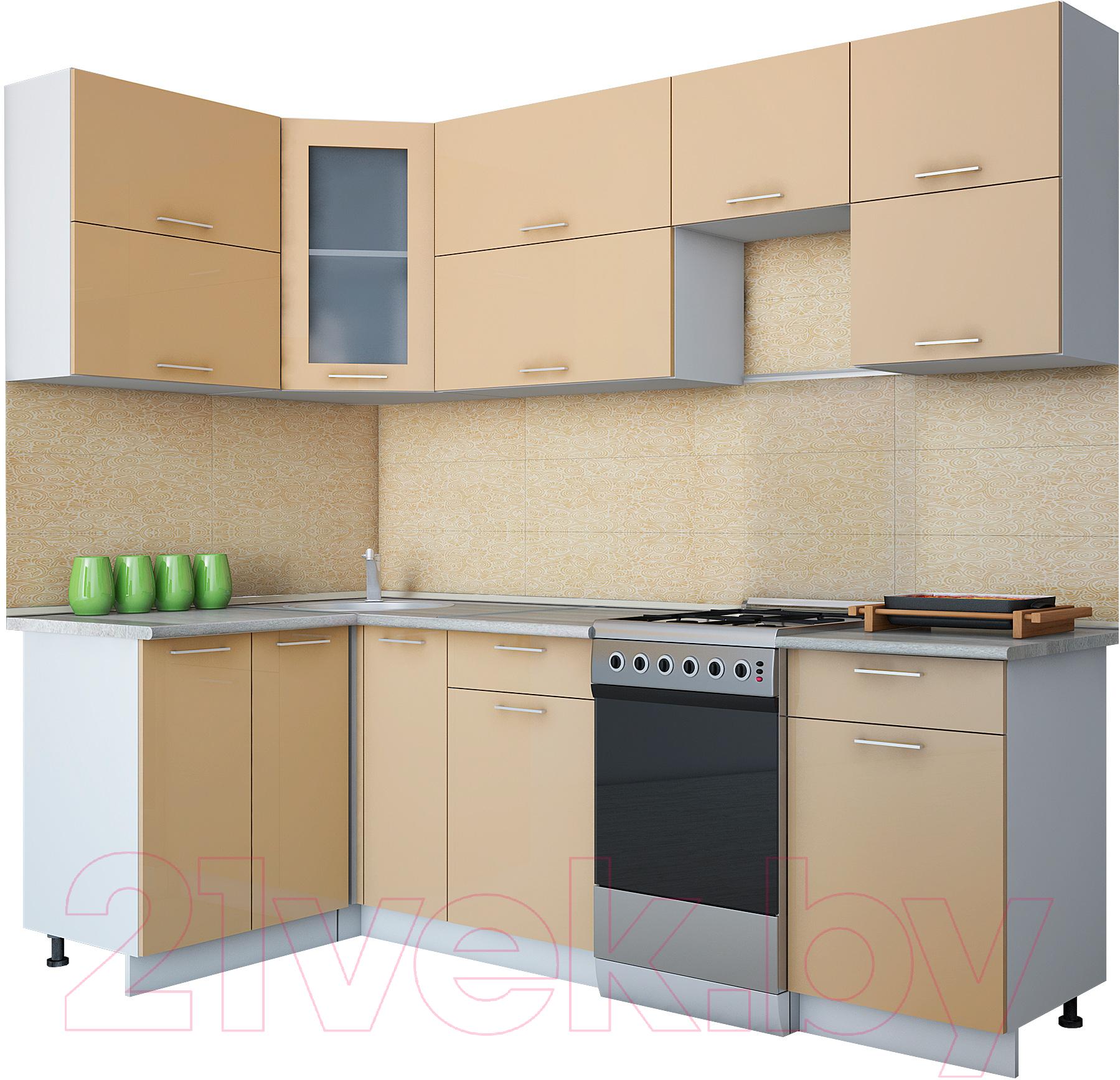 Купить Готовая кухня Интерлиния, Gloss 50-12x24 (капучино глянец), Беларусь