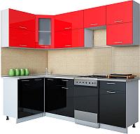 Готовая кухня Интерлиния Мила Gloss 50-12x24 (красный/черный глянец) -