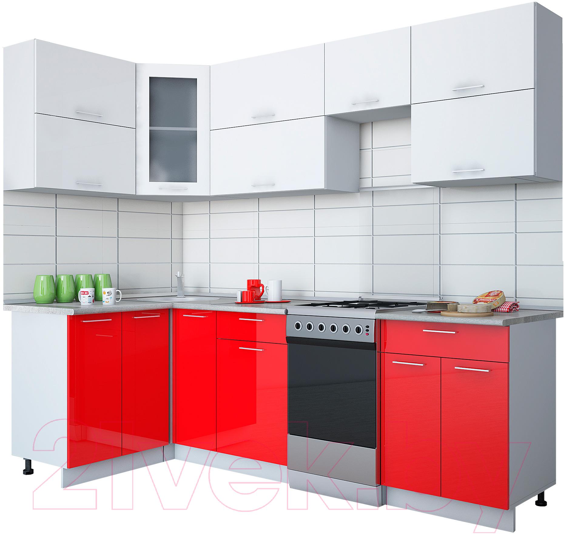 Купить Готовая кухня Интерлиния, Gloss 50-12x25 (белый/красный глянец), Беларусь