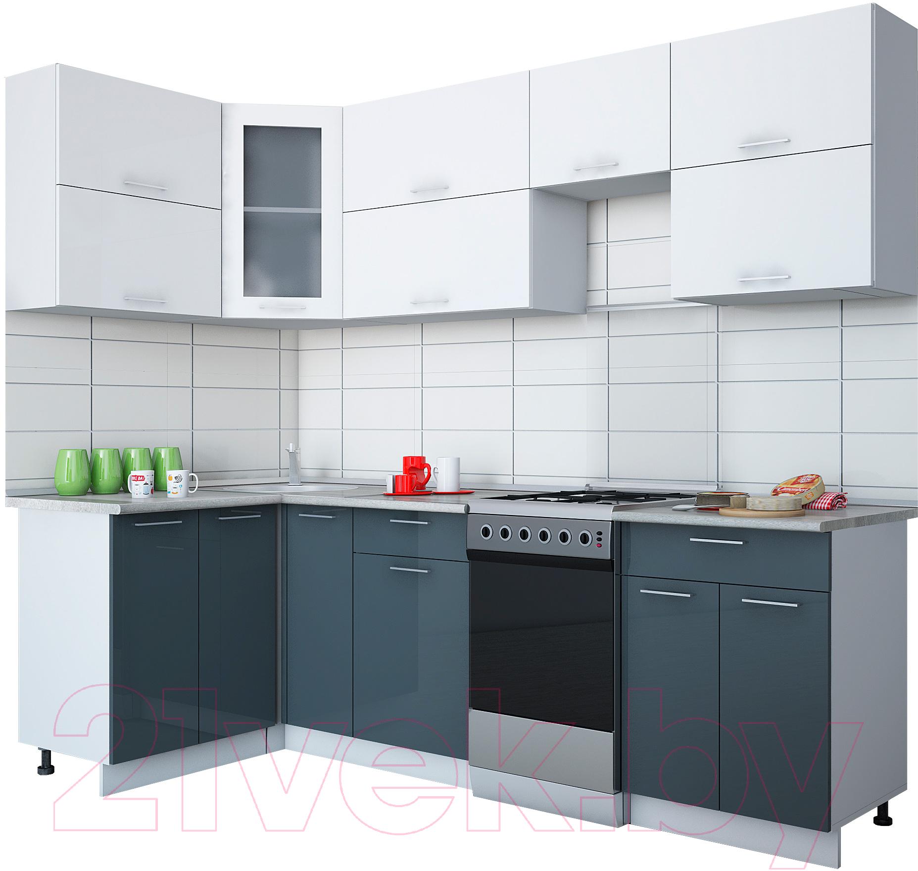 Купить Готовая кухня Интерлиния, Мила Gloss 50-12x25 (белый/асфальт глянец), Беларусь