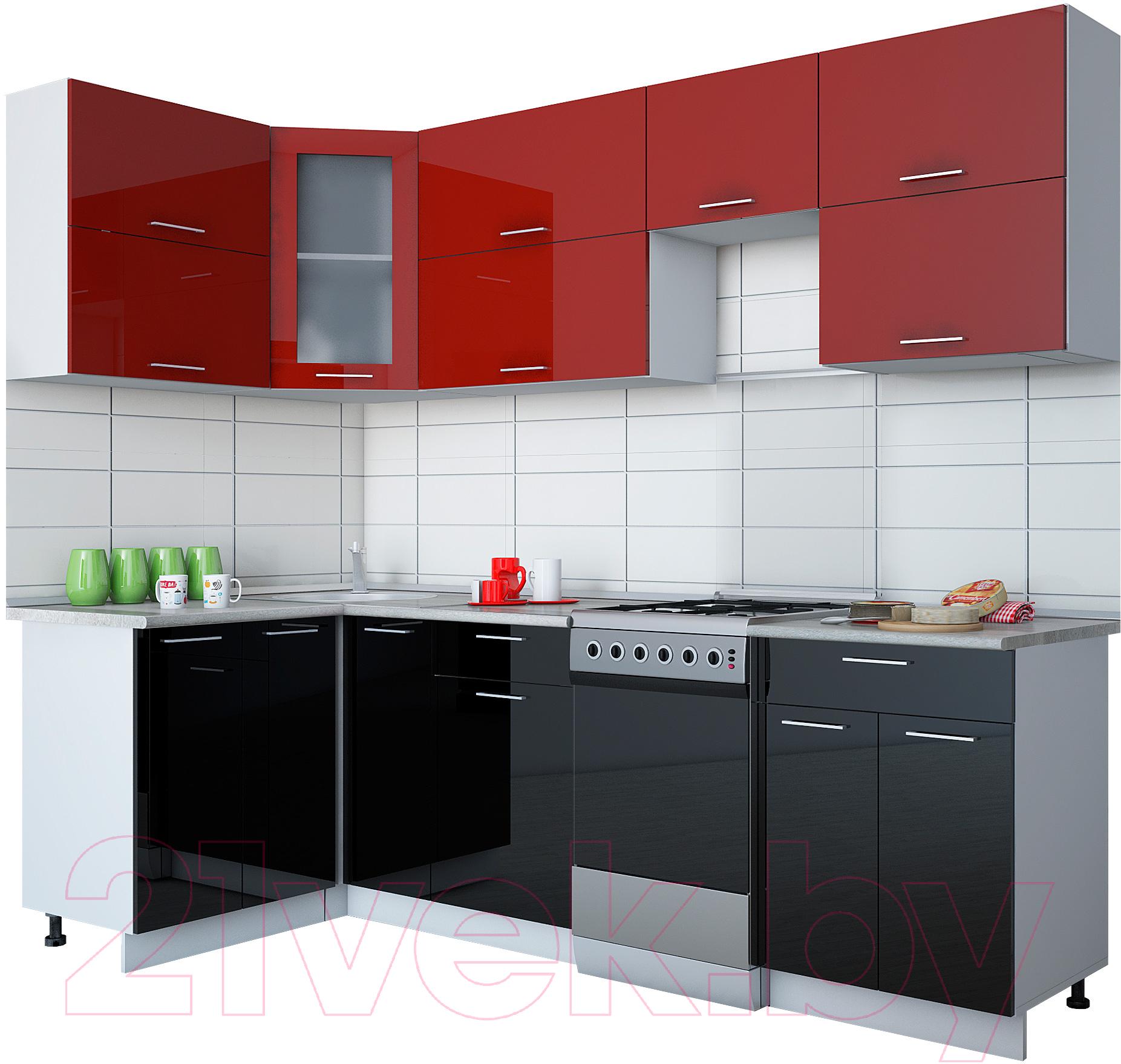Купить Готовая кухня Интерлиния, Gloss 50-12x25 (бордовый/черный глянец), Беларусь