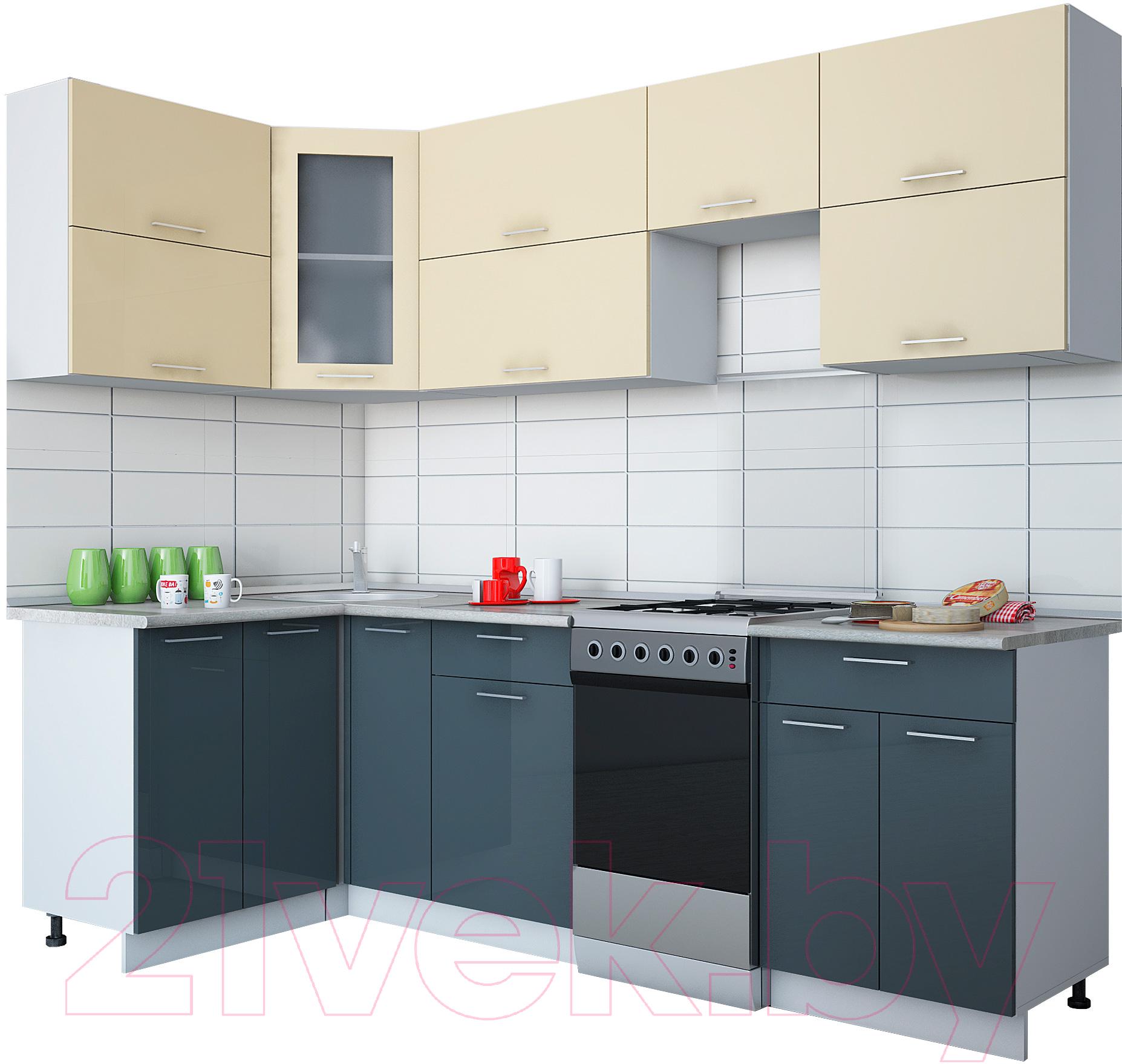 Купить Готовая кухня Интерлиния, Мила Gloss 50-12x25 (ваниль/асфальт глянец), Беларусь