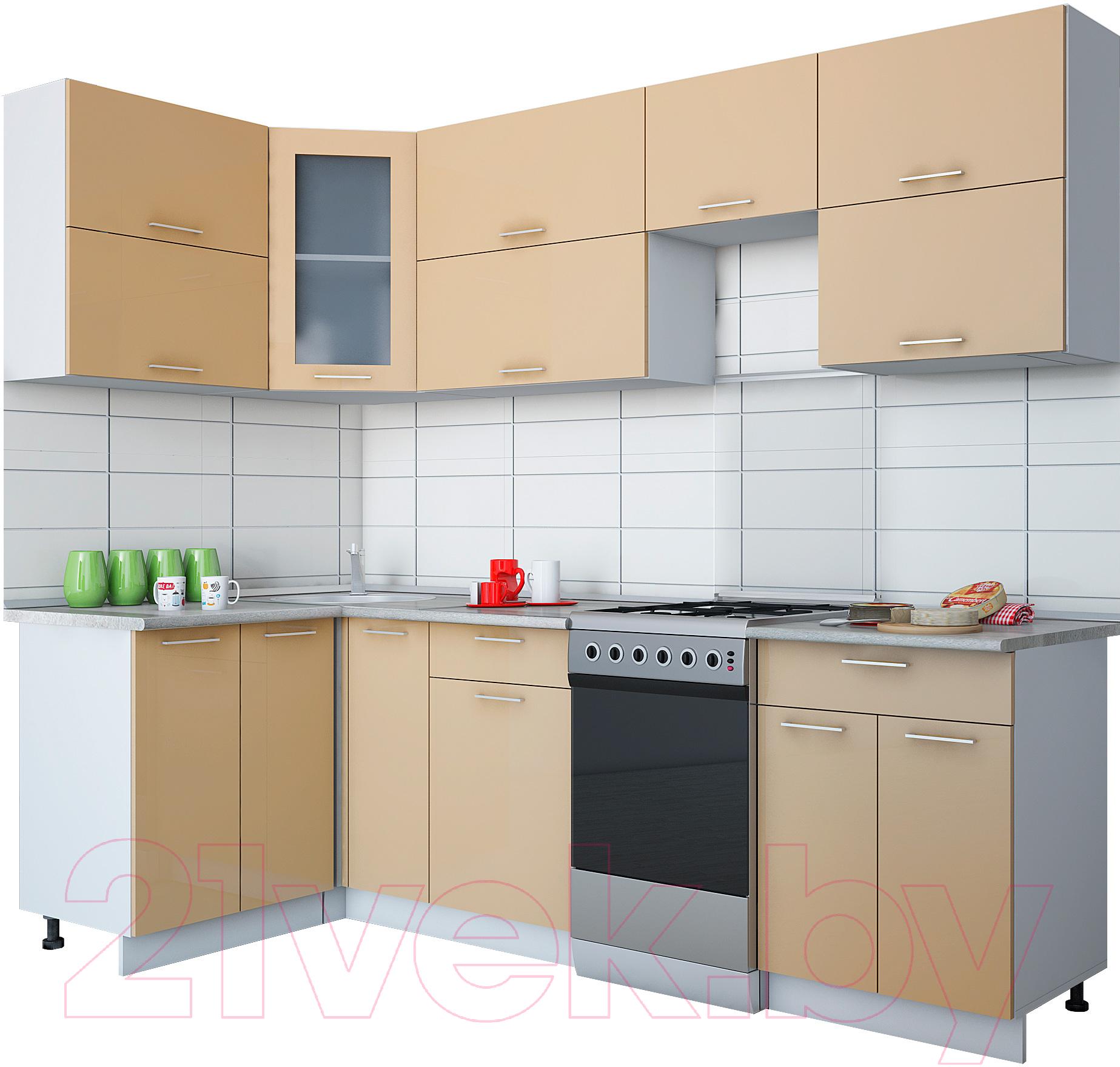 Купить Готовая кухня Интерлиния, Мила Gloss 50-12x25 (капучино глянец), Беларусь