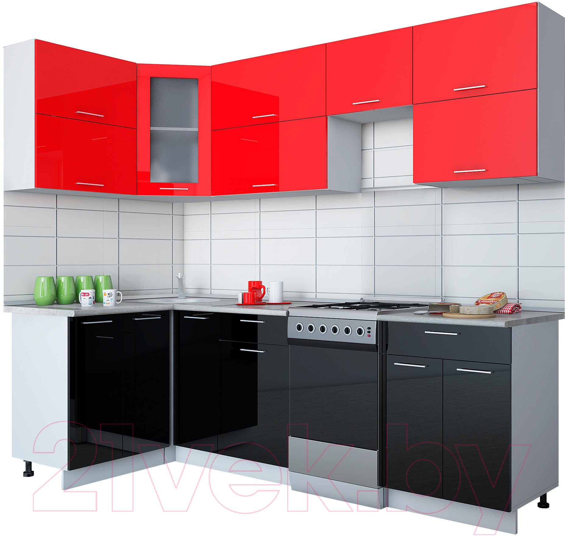 Купить Готовая кухня Интерлиния, Мила Gloss 50-12x25 (красный/черный глянец), Беларусь