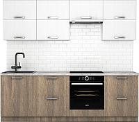 Готовая кухня Хоум Лайн Монако 2.4 (баменда серо-бежевый/белая премиум структура) -