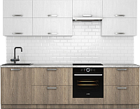 Готовая кухня Хоум Лайн Монако 2.7 (баменда серо-бежевый/белая премиум структура) -