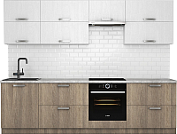 Готовая кухня Хоум Лайн Монако 2.8 (баменда серо-бежевый/белая премиум структура) -