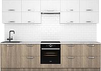 Готовая кухня Хоум Лайн Монако 3.0 (баменда серо-бежевый/белая премиум структура) -