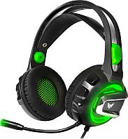 Наушники-гарнитура Crown CMGH-3002 (черный/зеленый) -