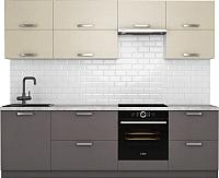 Готовая кухня Хоум Лайн Монако 2.6 (лен антрацит/лен бежевый) -