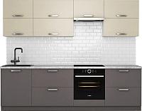 Готовая кухня Хоум Лайн Монако 2.7 (лен антрацит/лен бежевый) -