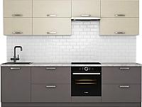 Готовая кухня Хоум Лайн Монако 2.8 (лен антрацит/лен бежевый) -
