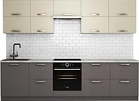 Готовая кухня Хоум Лайн Монако 2.9 (лен антрацит/лен бежевый) -