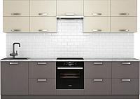 Готовая кухня Хоум Лайн Монако 3.0 (лен антрацит/лен бежевый) -