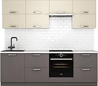 Готовая кухня Хоум Лайн Монако 2.4 (лен антрацит/лен бежевый) -