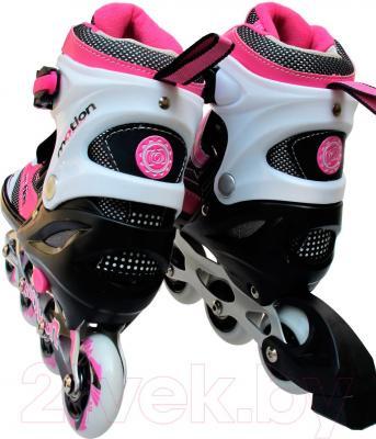 Роликовые коньки Motion Partner MP121L (L, розовый) - вид пары сзади