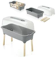 Теплица переносная Prosperplast Respana Planter Wood High Set / ISEW780H-405U (серый камень) -