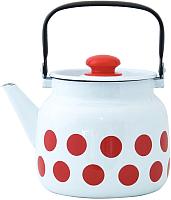 Чайник Лысьвенские эмали Горох красный С-2713 П2/4Рч -
