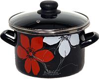 Кастрюля Сантэкс Красно-белый цветок 1-2230112 (черный) -
