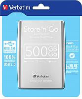 Внешний жесткий диск Verbatim Store 'n' Go USB 3.0 500GB / 53021 (серебристый) -