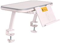 Полка для парты Растущая мебель Mini E513 навесная c подставкой (белый/серый) -