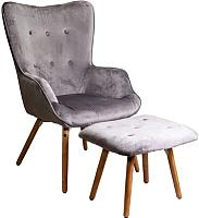 Комплект мягкой мебели Седия Orfej с подножкой (бархат серый) -