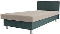 Односпальная кровать Лига Диванов Мальта / 101735 (велюр бежевый/бирюзовый) -