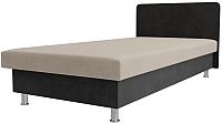 Односпальная кровать Лига Диванов Мальта / 101738 (велюр бежевый/серый) -