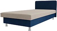Односпальная кровать Лига Диванов Мальта / 101739 (велюр бежевый/синий) -