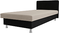 Односпальная кровать Лига Диванов Мальта / 101740 (велюр бежевый/черный) -