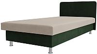 Односпальная кровать Лига Диванов Мальта / 101741 (микровельвет бежевый/зеленый) -