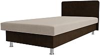Односпальная кровать Лига Диванов Мальта / 101742 (микровельвет бежевый/коричневый) -