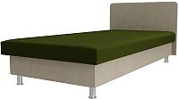 Односпальная кровать Лига Диванов Мальта / 101743 (микровельвет зеленый/бежевый) -