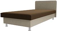 Односпальная кровать Лига Диванов Мальта / 101744 (микровельвет коричневый/бежевый) -