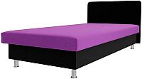 Односпальная кровать Лига Диванов Мальта / 101745 (микровельвет фиолетовый/черный) -