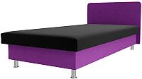 Односпальная кровать Лига Диванов Мальта / 101746 (микровельвет черный/фиолетовый) -
