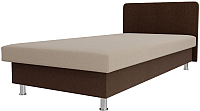 Односпальная кровать Лига Диванов Мальта / 101747 (рогожка бежевый/коричневый) -