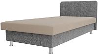 Односпальная кровать Лига Диванов Мальта / 101748 (рогожка бежевый/серый) -