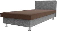 Односпальная кровать Лига Диванов Мальта / 101750 (рогожка коричневый/серый) -