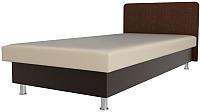 Односпальная кровать Лига Диванов Мальта / 101751 (экокожа бежевый/коричневый) -
