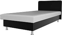 Односпальная кровать Лига Диванов Мальта / 101752 (экокожа белый/черный) -