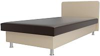 Односпальная кровать Лига Диванов Мальта / 101753 (экокожа коричневый/бежевый) -