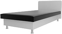 Односпальная кровать Лига Диванов Мальта / 101754 (экокожа черный/белый) -