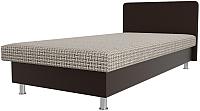 Односпальная кровать Лига Диванов Мальта / 101755 (корфу 02/экокожа коричневый) -