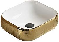 Умывальник CeramaLux C1068 (белый/золотистый) -